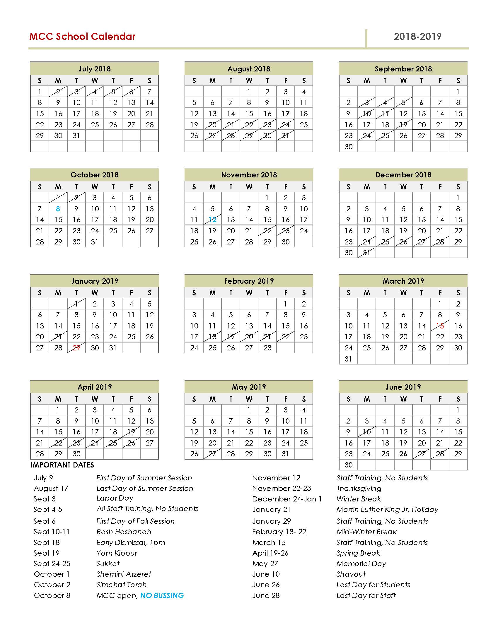 download full 2018 2019 calendar