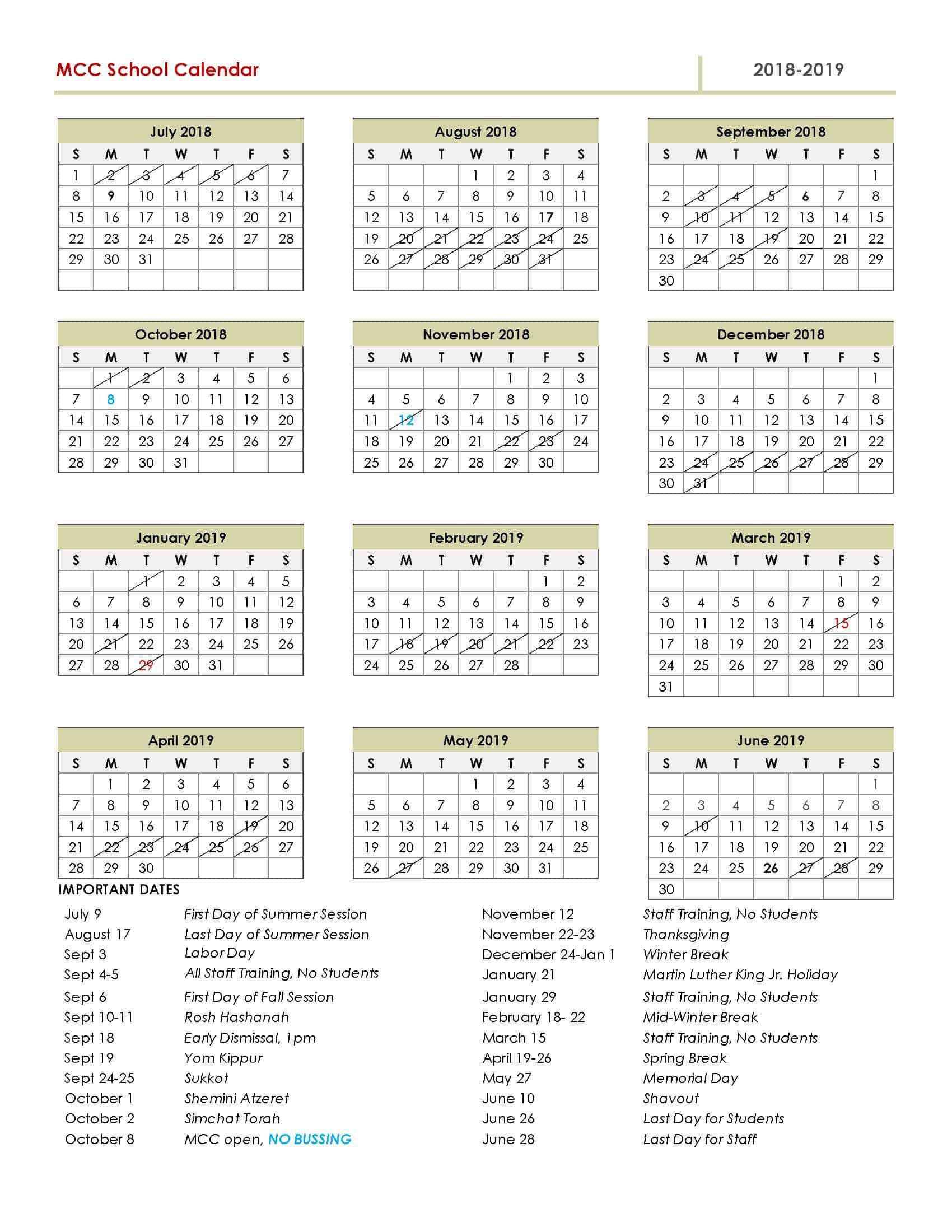 download full 2018 2019 calendar