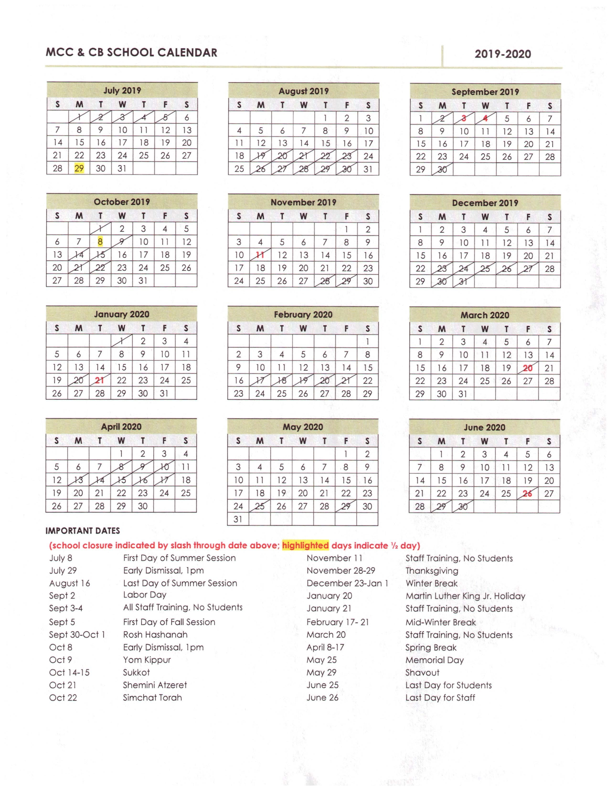 Nyc School Calendar 2020.Mcc Calendar Mcc School Calender 2018 Manhattan Childrens Center